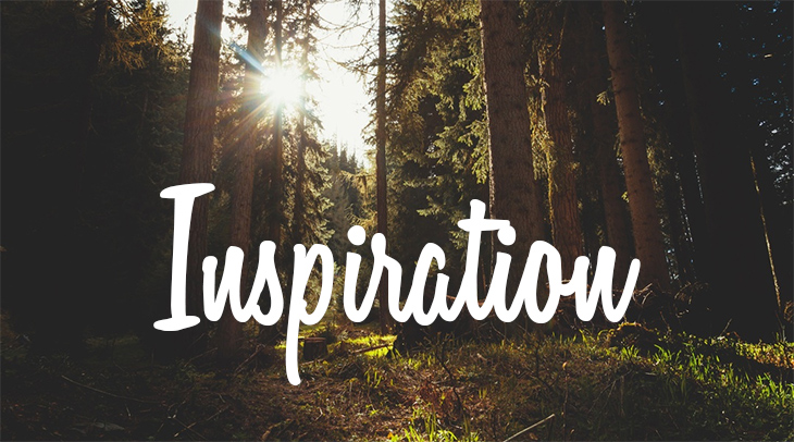 "Forest with sunlight shining through - and text reading ""Inspiration"""