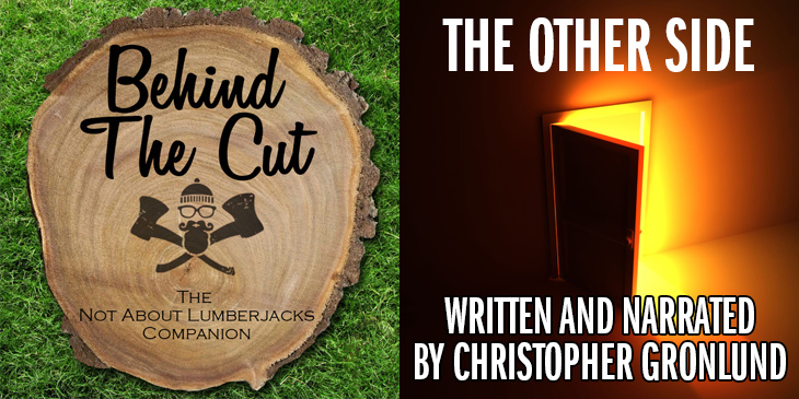 "Door opening, emitting light. ""The Other Side, Written and Narrated by Christopher Gronlund"""