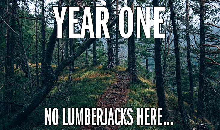 "Trail Through Forest - ""Year One. No Lumberjacks Here..."""