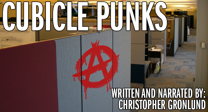 Anarchy symbol on cubicle wall - Cubicle Punks
