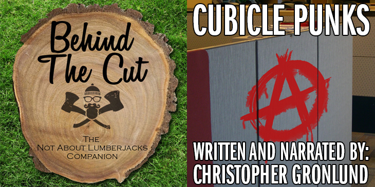 Anarchy symblo spray painted on a cubicle wall - Behind the Cut – Episode 17: Cubicle Punks